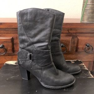 Born Mid-Calf Leather Buckle Ankle Boots